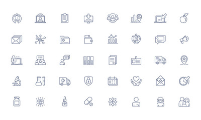 Medical online services Vector icon set