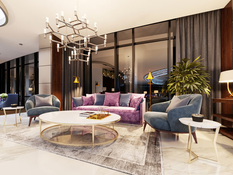 Luxurious lobby in a modern hotel with a comfortable sofa and designer armchairs.