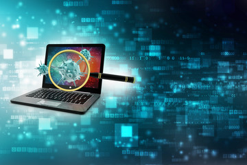Computer Virus Concept. Virus Detection, Magnifying Glass scanning Virus with Computer.  3d render