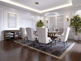Large dining table for eight people in the dining room classic style, crystal chandeliers above the table. The design of the dining room.