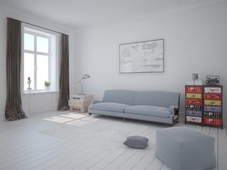 Mock up bright living room with a stylish classic sofa and a white background.