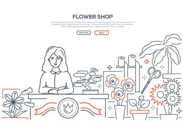 Flower shop - modern line design style web banner
