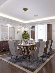 Luxurious dining room with a large table and soft chairs in a classic apartment.