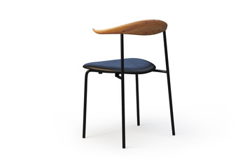 Black leather chair with metal legs and wooden back. 3d render