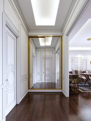 Classic style hall with white walls and built-in sliding wardrobe with golden frame.