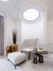 Modern white fashionable armchair with footrest, low table with decor and a golden vase with dry twigs. White modern interior with ceiling lights.