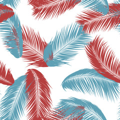 Tropical Palm Tree Leaves. Vector Seamless Pattern. Simple Silhouette Coconut Leaf Sketch. Summer Floral Background. Jungle Foliage. Trendy Wallpaper of Exotic Palm Tree Leaves for Textile Design.