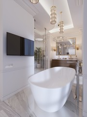 Luxurious contemporary bathroom with a free-standing bath and TV on the wall, shower, vanity with mirror and wall lamp.