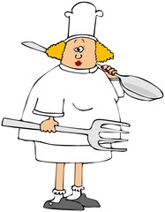 Female chef holding a giant fork and spoon