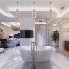 Design apartment with open space bedrooms and bathrooms in a modern style.