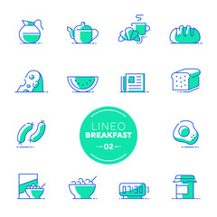 Lineo Lime - Breakfast and Morning line icons (editable stroke)