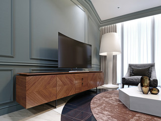 Modern TV on a wooden cabinet in the living room.