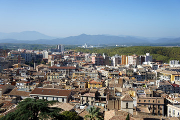 View of the city of Girona from old fortress wall.Catalonia.Spain.