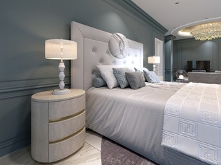 Elegant bedroom interior with large comfortable bed and sofa with dressing table. Fototapete