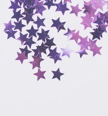 lilac stars confetti on white