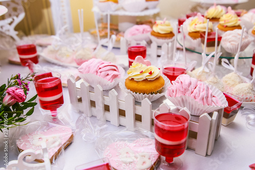 Candy Bar For Wedding Guests Delicious Pastries Close Up Stock