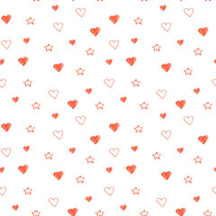 Simple hearts seamless pastel pattern. Valentines day background. Flat design endless chaotic texture made of tiny heart silhouettes. Shades of red.