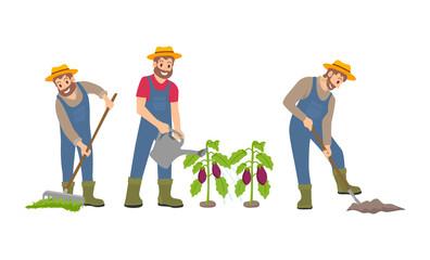 Farming Man on Farm Icons Set Vector Illustration