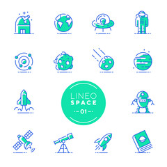 Lineo Lime - Space and Planets line icons (editable stroke)