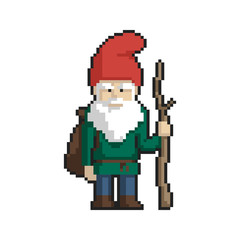 Dwarf pixel art on white background. Vector illustration.
