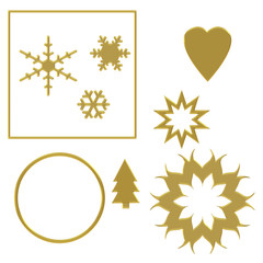 Assorted festive elements with gold effect, isolated on white background with chiselled effect fancy edge. Heart, circle, snowflake, star, Christmas tree etc.