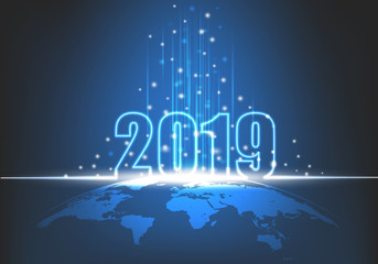 Happy New Year 2019, Futuristic technology abstract with glowing neon light