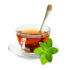 isolated image of tea cups and mint leaf