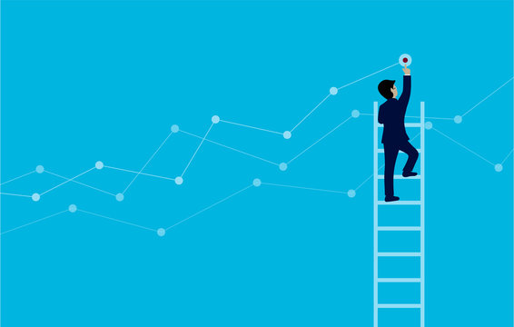 Businessmen Walk up stairs Go up to goal to achieve higher success. modern ideas. Creative idea. Business concept cartoon vector illustration.