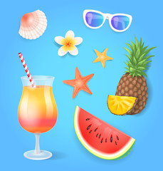 Summer Season Pineapple Set Vector Illustration
