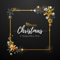 Christmas poster with golden snowflakes. Christmas background