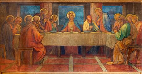 Fototapete - PRAGUE, CZECH REPUBLIC - OCTOBER 13, 2018: The fresco of Last Supperin church kostel Svatého Václava by S. G. Rudl (1900).