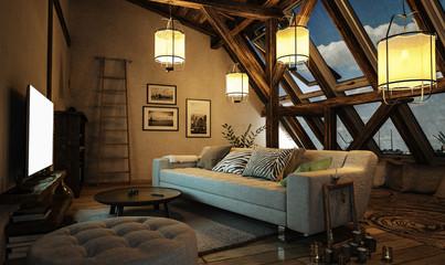Gemütliches Wohnzimmer im Dachgeschoss mit leuchtenden Design Lampen