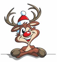 Cartoon, Rudolf das Rentier zwinkert
