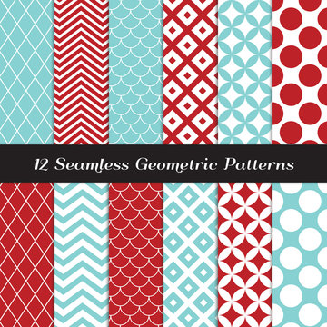 Aqua Blue and Red Geometric Seamless Patterns. Retro Mod Backgrounds in Jumbo Polka Dot, Diamond Lattice, Scallops, and Chevron Patterns. Repeating Pattern Tile Swatches Included.