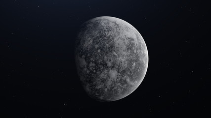 Realistic Planet Mercury from space. 3D illustration
