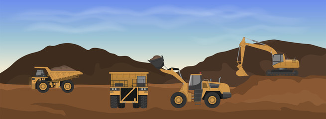 Career machinery. Wheel loader, excavator and dumper in mine. Industrial landscape. Earth work panorama