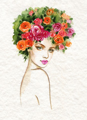 Poster de jardin Portrait Aquarelle beautiful woman. fashion illustration. watercolor painting