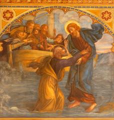 Fototapete - PRAGUE, CZECH REPUBLIC - OCTOBER 13, 2018:  The fresco  Peter, walking on water toward Jesus  in church kostel Svatého Václava by S. G. Rudl (1900).