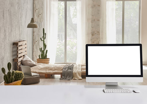 Close up desktop on the white table and modern bed room background. Pallet bed and vase of cactus garden view.