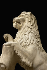 The sculpture of the lion as a symbol of power