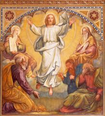 Wall Mural - PRAGUE, CZECH REPUBLIC - OCTOBER 13, 2018:  The fresco of Transfiguration of the Lord in church kostel Svatého Václava by S. G. Rudl (1900).