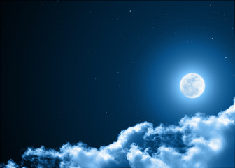 Mystical Night sky background with full moon, clouds and stars. Moonlight night with copy space for winter background