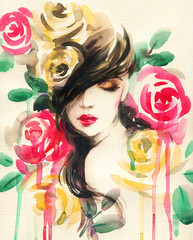Zelfklevend Fotobehang Aquarel Gezicht beautiful woman. fantasy illustration. watercolor painting
