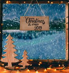 Christmas Window, Calligraphy Merry Christmas, Happy 2019, SNowflakes