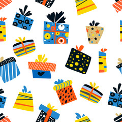 seamless pattern with color gift boxes set. Christmas presents vector illustration. Doodle