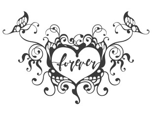 forever hand drawn lettering in heart frame with butterfly, vector illustration