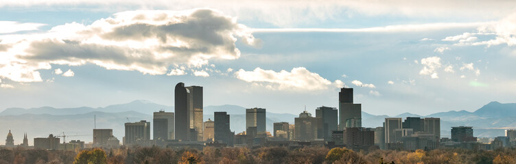 Sun Rays Reflected on Glass Buildings in Downtown Denver