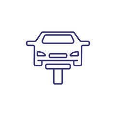 Service station line icon. Vehicle on lift, lifted car, garage. Car service concept. Can be used for topics like breakdown, diagnostics, maintenance