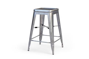 Metal bar stool with step. 3d render