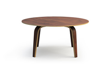 Modern round wooden coffee table. 3d render